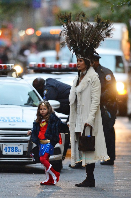 EXCLUSIVE: Padma Lakshmi and daughter Krishna seen trick or treating in SoHo, New York City