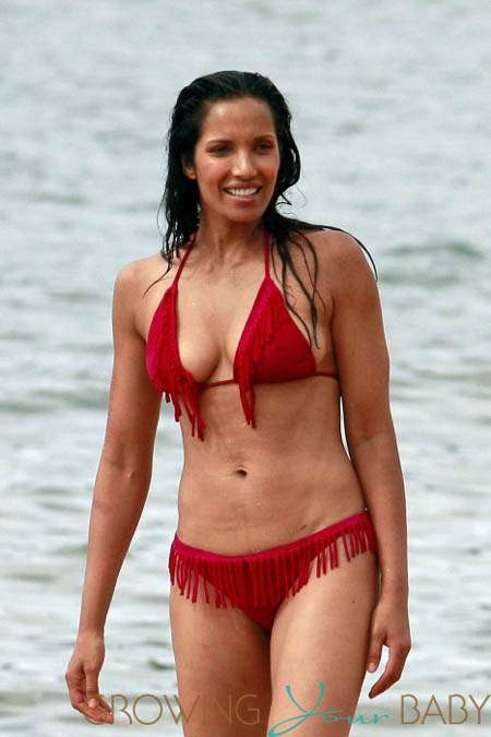 Padma Lakshmi relaxes on the beach in Hawaii