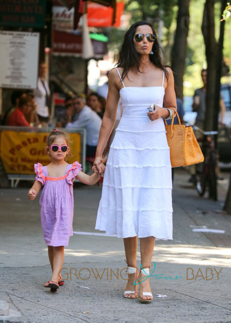 Padma Lakshmi and her daughter Krishna Thea Lakshmi-Dell seen in the West Village in New York City.