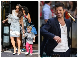 Paula Patton and Robin Thicke With son Julian in NYC