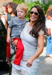 Paula Patton exits the Jimmy Kimmel show with her son Julian