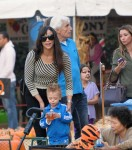 Robin Thicke and wife Paula Patton explore Mr Bones Pumpkin Patch with their son Julian in Beverly Hills