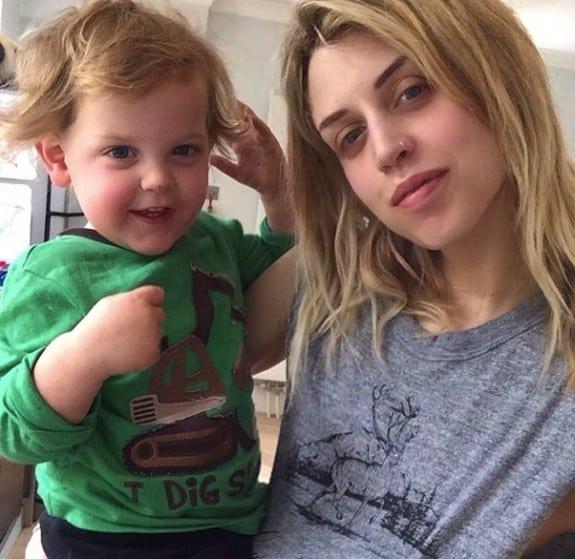 Peaches Geldof with son Astala Geldof-Cohen
