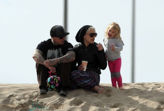 Pink, Carey Hart and their daughter Willow on the beach in LA