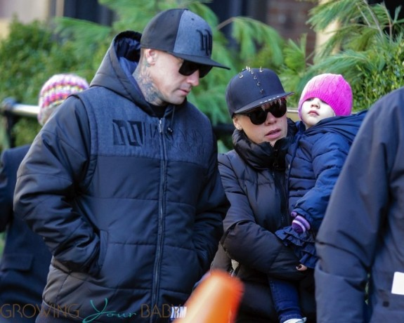 Pink and Carey Hart with daughter Willow in NYC