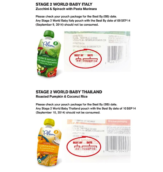 Plum Organics recalled products, World Baby Italy and World Baby Thailand