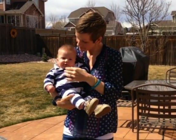 Pregnancy Cancer survivor Amy Hansen with son Gavin