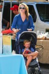 Pregnant Ali Larter out at the farmer's market with son Theodore