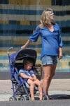 Pregnant Ali Larter shops at the farmer's market in LA with son Theodore