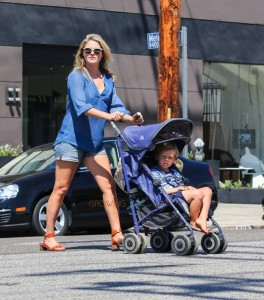 Pregnant Ali Larter shops at the farmer's market with son Theodore