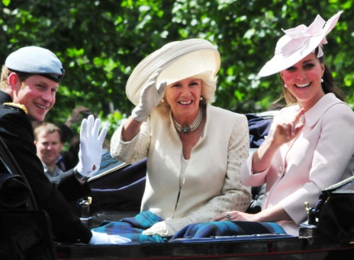 Pregnant Catherine Middleton, Camila Parker Bowles, Prince Harry at Trooping of the Color 2013