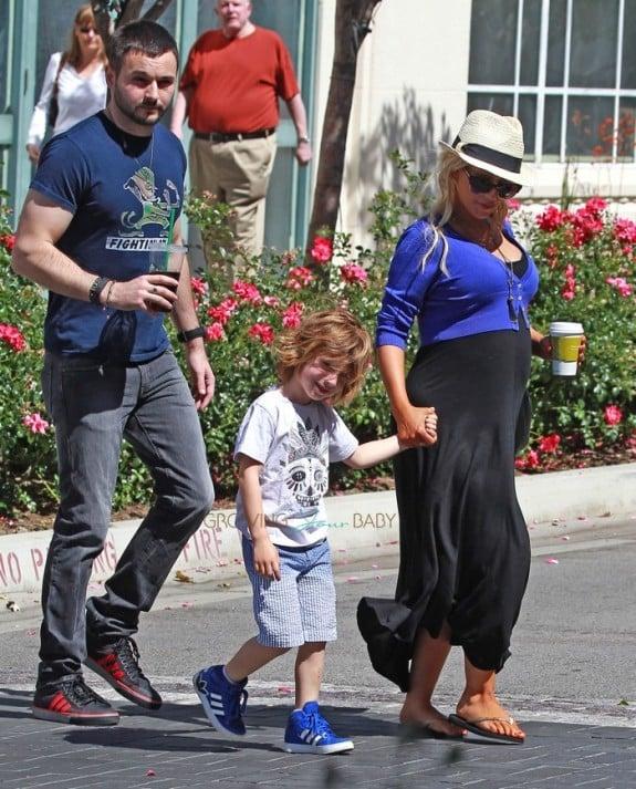 Pregnant Christina Aguilera out in LA with Matt Rutler and son Max
