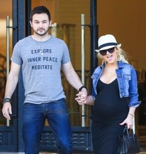 Pregnant Christina Aguilera out in LA with fiance Matt Rutler
