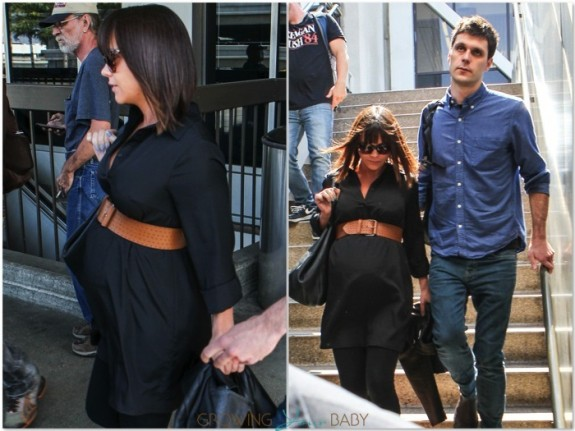 Pregnant Christina Ricci & husband James Heerdegen at LAX