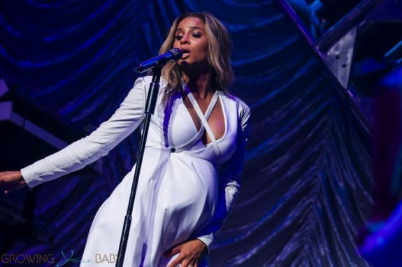 Pregnant Ciara performs on stage at Power 106's 'Valentine's Crush' held at Nokia Theatre