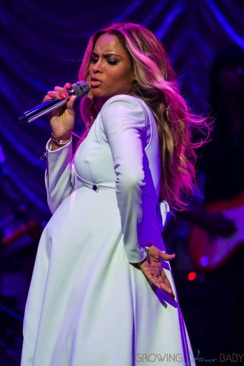 Pregnant Ciara performs on stage at Power 106's 'Valentines Crush' held at Nokia Theatre