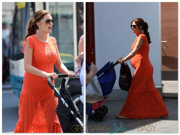 Pregnant Danielle O'Hara out shopping with her boys Archie and Harry in London
