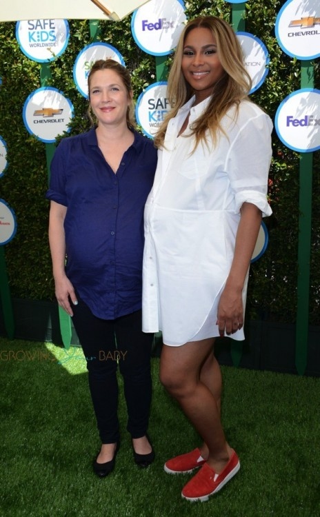 Pregnant Drew Barrymore and Ciara at Safe Kids Day in Los Angeles