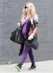 Fergie looking very pregnant runs some errands in Santa Monica, CA