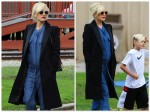 Pregnant Gwen Stefani out with Kingston Rossdale in Los Angeles