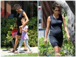 Pregnant Halle Berry does the school run with daughter Nahla