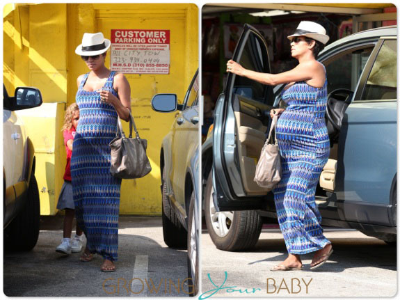 Pregnant Halle Berry picks Up Nahla from school