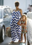 Pregnant Halle Berry with her daughter Nahla at Bristol Farms