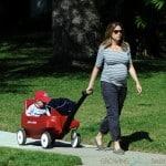 Pregnant Jenna Fischer strolls with her son Weston in LA