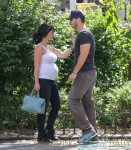 Jennifer Love Hewitt shows off her expanding baby bump as she and fiance Brian Hallisay take a stroll around New York City
