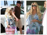 Pregnant Jessica Simpson and Eric Johnson lunch at the IVY