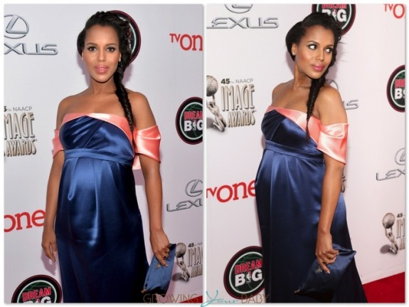 Pregnant Kerry Washington on the red carpet at the 45th NAACP Image Awards
