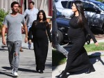 Pregnant Kourtney Kardashian at lunch with partner Scott Disick in Los Angeles