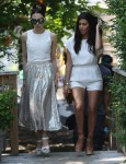 Pregnant Kourtney Kardashian films in downtown South Hampton with Stacey Bendet