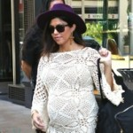 Pregnant Kourtney Kardashian leaves a party with her family t
