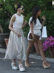 Pregnant Kourtney Kardashian strolls in downtown South Hampton with Stacey Bendet