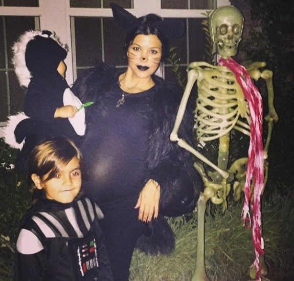 Pregnant Kourtney Kardashian with kids Mason and Penelope out for Halloween