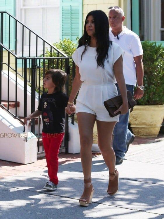 Pregnant Kourtney Kardashian with son mason in the Hamptons