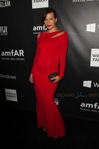 Pregnant Milla Jovovich at the amfAR LA Inspiration Gala Honoring Tom Ford