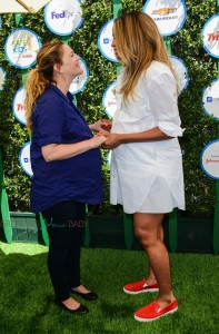Pregnant Moms-to-be Drew Barrymore and Ciara chat at Safe Kids Day in La