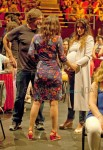 Pregnant Penelope Cruz husband Javier Bardem and Spanish actress Aitana Sanchez Gijon attend the Asier Etxeandia Concert at Price Circus Theatre in Madrid
