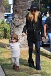 Pregnant Rachel Zoe with son Skyler Berman at Mr
