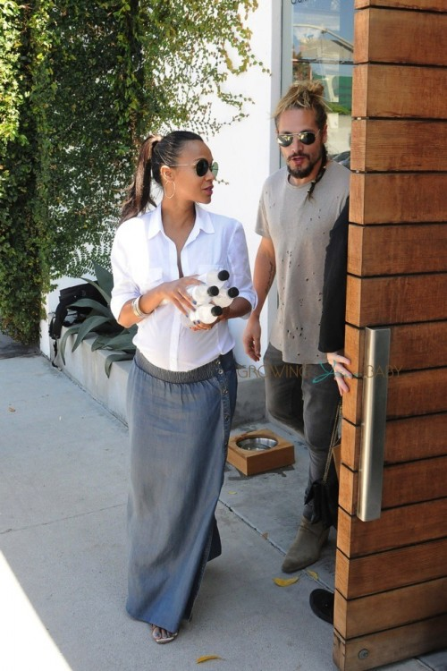 Pregnant Zoe Saldana and husband Marco Perego out in LA