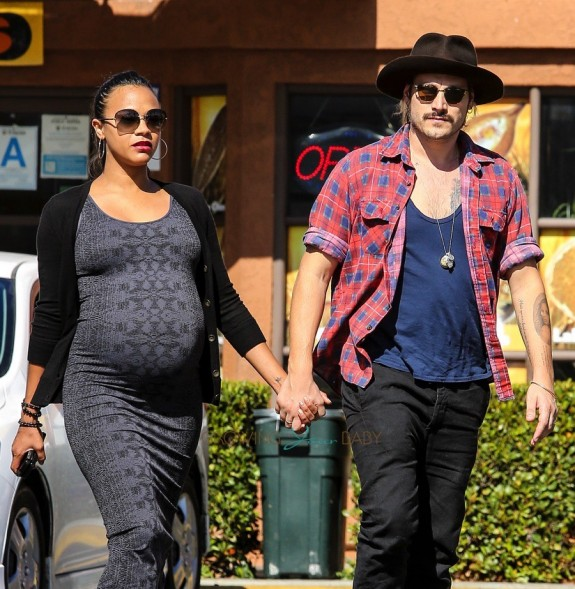 Pregnant Zoe Saldana and husband Marcus Perego out in LA