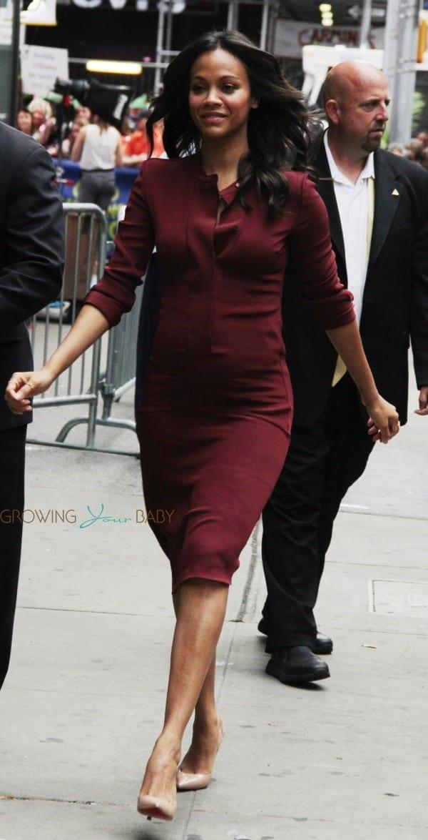 Pregnant Zoe Saldana At Good Morning America Growing