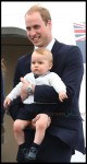 Prince William, Catherine and their son Prince George  at Wellington airport