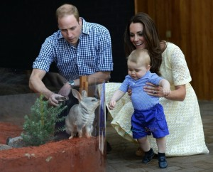 Prince William, Catherine with their son Prince George in the Bilby Enclosure at Taronga Zoo
