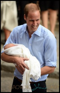 Prince William, The Duke and Catherine, Duchess of Cambridge show their new baby boy to the press outside the Lindo Wing of St Maryís Hospital in London