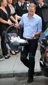 Prince William, Duke of Cambridge with his new baby boy seen at St