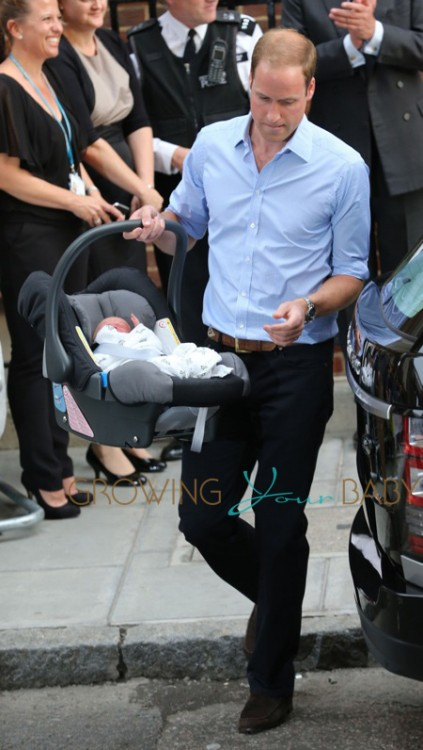 Prince William, Duke of Cambridge with his new baby boy seen at St.Mary's hospital in London