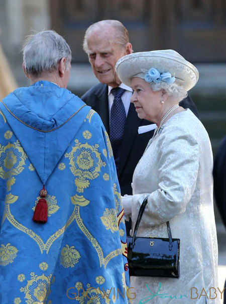 Queen Elizabeth II and Prince Philip, Duke of Edinburgh arrive at the 60th Anniversary of the Coronation Service at Westminster Abbey in London